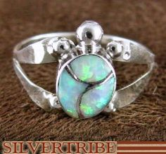 Native American Opal Inlay Turtle Genuine Sterling Silver Ring Size 6-1/2 AS49649