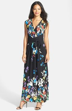 Ellen Tracy Print Faux Wrap Jersey Maxi Dress available at #Nordstrom