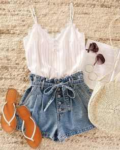 Oct 2019 - When you feel like warm weather is finally here to stay (hopefully). Cute Casual Outfits, Cute Summer Outfits, Stylish Outfits, Spring Outfits, Summer Clothes, Teen Fashion, Fashion Outfits, 70s Fashion, Korean Fashion