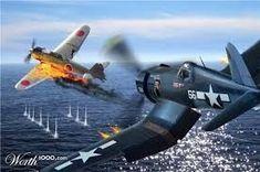 Corsair shooting down a Kate. Ww2 Aircraft, Fighter Aircraft, Military Aircraft, Airplane Fighter, Airplane Art, Military Art, Military History, Fighter Pilot, Fighter Jets