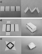Self-Folding of Polymer Sheets  Michael Dickeyfrom North Carolina State University developed a technique where polymer sheets self-fold when exposed to light. Polymer sheets (also known as Shrinky Dinks) were run through a desktop printer to get a pattern of black lines (crease pattern). When the polymer sheets are exposed to light, they automatically fold along the black lines.