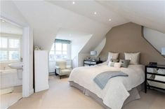 It's not always easy to decorate the attic bedroom so you are going to need a plan before you begin. Attic Master Bedroom, Attic Bedroom Designs, Attic Bedrooms, Bedroom Loft, Bedroom Decor, Teenage Attic Bedroom, Upstairs Bedroom, Bedroom Wardrobe, Bedroom With Ensuite