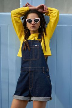35c1949ac344 Vans   UO Denim Shortall Overall - Urban Outfitters Blue Jumpsuits