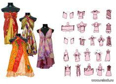 Ulike knytinger for tolags omslagsskjørt. Convertible Clothing, Diy Fashion, Fashion Outfits, Fashion Hacks, Plus Size Sewing Patterns, Moda Boho, Sari, Infinity Dress, Apron Dress