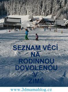 Seznam věcí na dovolenou v zimě, volně k vytištění #seznam #dovolena #rodina #děti #zima #lyže #3dmamablog.cz