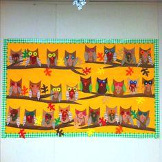 fall bulletin board ideas for preschool Owl Owl Bulletin Boards, November Bulletin Boards, Back To School Bulletin Boards, Preschool Bulletin Boards, Bulletin Board Display, Bullentin Boards, Owl Preschool, Preschool Classroom, Preschool Ideas