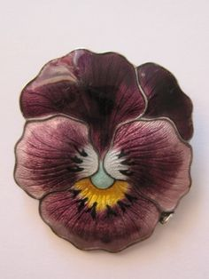 Vintage 1918 Sterling Guilloche Enamel Pansy Brooch John Atkins & Son JA&S - very, very tempting.