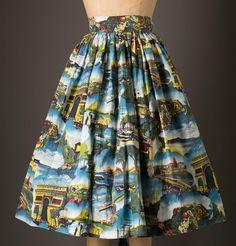 1950s Novelty Print World Traveller Skirt by BloomersAndFrocks
