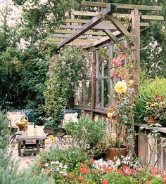 Recycling old wood doors and windows is a great eco friendly project that can create wonderful items for outdoor home decorating