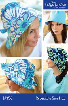 Reversible Adult Sun Hat Sewing Pattern PDF from Indygo Junction