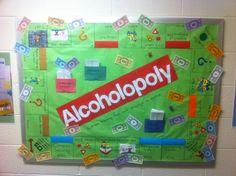 Alcoholopoly!! I made my RAs compete for the best alcohol bulletin board for passive programming month. Competition resulted in the coolest bulletin boards ever. This one was done by RA Kelly Smith under direction of RD Dani Carroll at Meredith College.