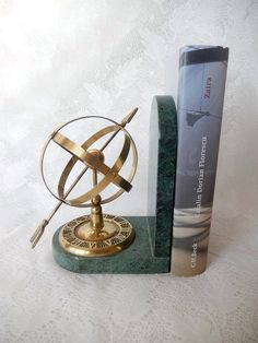 vintage armillary sphere bookend marble and brass by brixiana