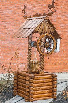 Купить или заказать Колодец декоративный № 1, 4 в интернет-магазине на Ярмарке Мастеров. Может быть только декором и выполнять роль цветника, а может быть изящным действующим сооружением - источником воды. 5-слойная антисептическая пропитка. Работа представлена в коллекции… Wooden Projects, Outdoor Projects, Wood Crafts, Diy Planters Outdoor, Wood Pallet Planters, Resin Furniture, Garden Furniture, Rustic Candles, Diy Farmhouse Table