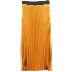 Metallic Pleated Skirt (2.800 RUB) ❤ liked on Polyvore featuring skirts, orange pleated skirt, panel skirt, metallic pleated skirt, pleated skirts and orange skirt