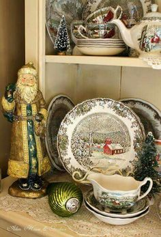 love looking at this china (Friendly Village by Johnson Bros - Made in England).Aiken House & Gardens: Friendly Village Cupboard i have this china also and i love it during the winter. Christmas China, Christmas Dishes, Christmas Kitchen, Noel Christmas, Country Christmas, All Things Christmas, Vintage Christmas, Xmas, Christmas Christmas