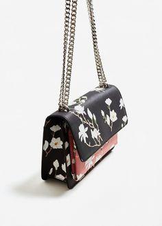 Bicolor floral bag -  Woman | MANGO Czech Republic