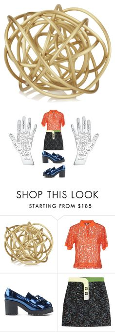 """gold and skirt sweater orange and blue"" by kohlanndesigns on Polyvore featuring Kelly Wearstler, MSGM, Markus Lupfer and Peter Pilotto"