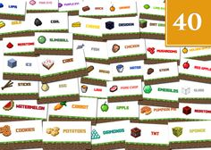 40 Unique Minecraft Party Food Tent Labels/Cards by MinecraftBay