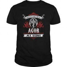 Awesome Tee  AGOR  Blood Runs Through My Veins (Dragon) - Last Name, Sub Name Shirts & Tees #tee #tshirt #named tshirt #hobbie tshirts #agor