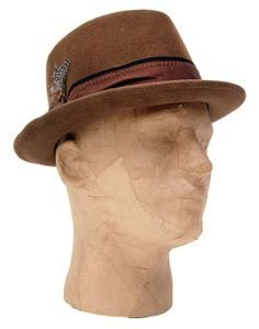 Brown felt mens fedora hat with feather
