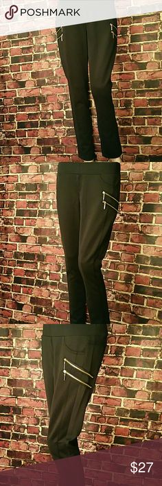 Fitted Waist Ponte Pants Fitted Waist Skinny Ponte Pants, With Side Zipper Detail. 92%polyester, 8% spandex. **Free Shipping: Submit offer for $7 less, and I will accept.** Pants Skinny