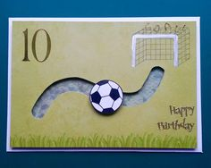 Boys birthday card. Kids birthday cards. Football (soccer) slider card. Handmade cards. Hand cut.