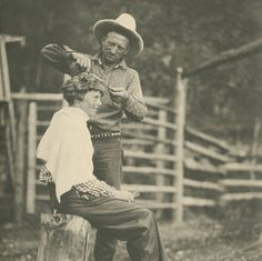 Amelia Earhart -- getting a haircut from Carl Dunrud in Meeteetse, Wy Belden photo