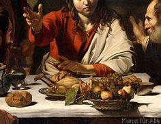 Caravaggio (Michelangelo Merisi) - Abendmahl in Emmaus (Detail) Baroque Painting, Baroque Art, Religious Paintings, Religious Art, Italian Painters, Italian Artist, Traditional Paintings, Contemporary Paintings, Rembrandt