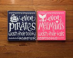 LARGE Pirate and Mermaid bathroom decor Even pirates wash