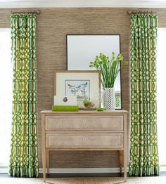 Love this combination of grasscloth with this green panels.  Beautiful!