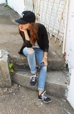 saturdays // denim, sneakers, hat, blazer
