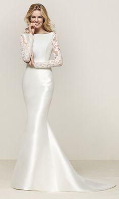 vestidos de novia l nea cl sica con falda a en raso natural moda mujer pinterest. Black Bedroom Furniture Sets. Home Design Ideas
