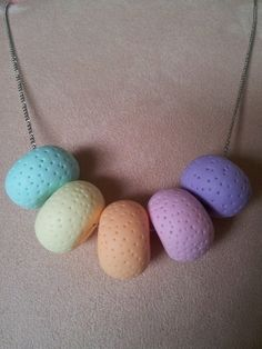 Polymer Clay Necklace 5 Large Pastel Beads by EmbellishHandmade, $27.00