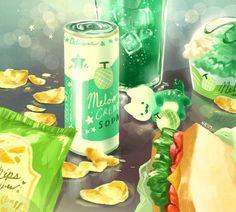 Anime More Melon Cream Cat. Cute Animal Drawings, Kawaii Drawings, Cute Drawings, Cream Cat, Pinterest Instagram, Cute Food Art, Leprechaun, Animal Doodles, Kawaii Cat