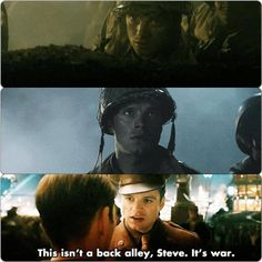 """""""This isn't a back alley, Steve. It's war."""" I'm so angry they deleted the scenes in the first two pictures... / Bucky Barnes"""