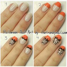 Step by Step Simple Halloween Nails @The Trendy Nail #nailart #nails #halloween