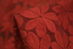 Tessuti Fabrics - orange-red embroidered organza