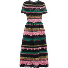 Valentino Paneled appliquéd cotton-blend lace midi dress ($8,280) ❤ liked on Polyvore featuring dresses, valentino, vestidos, slip dress, fit flare dress, valentino dress, lace fit and flare dress and below the knee dresses