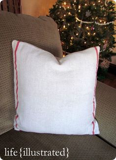 diy grain sack pillow cover made from ikea dish towel {and I already own the towels!}