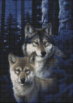 Wolves Family in Snow Chart Counted Cross Stitch Pattern Needlework Xstitch