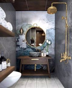 Modern and Elegant Bathroom Design for Isn't it fantastic? Masculine but also really chic and modern bathroom inspiration for everyone. Bathroom Design Luxury, Modern Bathroom, Small Bathroom, Dream Bathrooms, Luxurious Bathrooms, Colorful Bathroom, Boho Bathroom, Bathroom Trends, Master Bathrooms