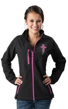 Cowgirl Hardware® Women's Black with Zebra Cross Embroidery Long Sleeve Bonded Jacket