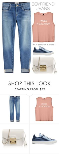 """I need your jeans, babe"" by baimatovaaa ❤ liked on Polyvore featuring Frame, Furla and Jil Sander"