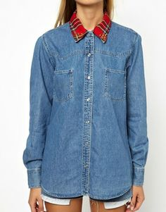 Image 3 ofPoorboy Denim Shirt with Tartan Collar