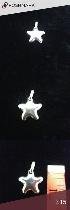 🆕LISTING! Sterling Star Pendant🌠 EUC, sterling silver polished puffy star pendant, see photos for size & hallmark, ships from smoke free home! Jewelry #SterlingSilverDress