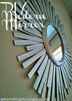 Super cheap, modern DIY sunburst mirror. Only $12 to make!