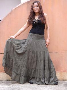 Long Skirt..Long Boho Skirt ....Long Maxi Skirt ..Full Length Skirt..Seaweed Green ....Soft and Floaty