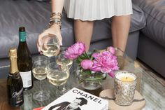How To Throw The Classiest Pizza Party, Ever #refinery29  http://www.refinery29.com/mystylist/grace-atwood/pizza-party#slide2  If you ask me, the perfect girls' night is more about hanging out with your friends than having the perfect table setting. That's why I'm keeping things casual with fresh flowers in a simple glass vase and a pretty candle holder. Candles are an easy way to create a cozy ambiance. Keeping things low-key and easy is my motto!