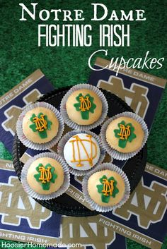 The perfect way to celebrate game day! Go Irish! http://hoosierhomemade.com/notre-dame-cupcakes-football-party-food/  Love thee Notre Dame Football cupcakes!