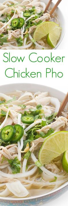 A fresh and flavorful slow cooker version of your favorite Asian soup: Vietnamese Chicken Pho. You're going to love this fast and easy this Slow Cooker Chicken Pho is! (Slow Cooker Chicken Soup)